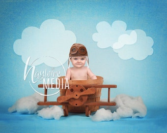 Baby, Child, Kids Airplane Pilot Basket Photo Backdrop with Clouds - Studio Background Portrait Photography Prop