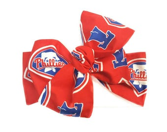Baby Phillie Headwrap,Phillies Baby Headwrap,Top Knot,Infant Headwrap,Toddler Headwrap, Headband,hair accessories,Turban-headscarf,Baseball