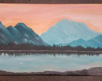 Original acylic painting, Mountain landscape