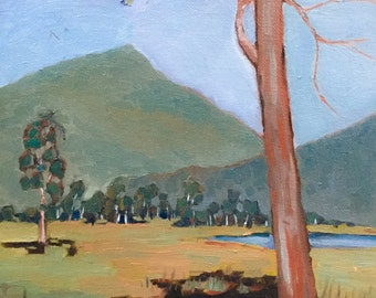 Original Oil Painting, Trees, Mountains, Landscape, Small Oil, Small Landscape, Small Painting, Hills, Wall Art, Impressionism