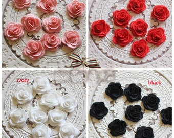 "20pcs 2.6cm 1.02 "" wide ivory/black/pink/red 3D flowers embroidery lace appliques patches L14M82 free ship"