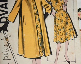 RARE Vintage Coat and Dress Pattern---Advance 9897---Size 16 1/2 Bust 37