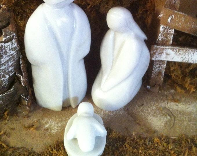 Christmas Nativity Carrara Marble Statue set Decoration From Italy 100% HandMade