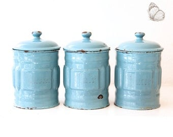 Pretty Vintage French Enamel Canisters Set of 3 - Duck Egg Blue 1940s - Free Shipping Within the USA