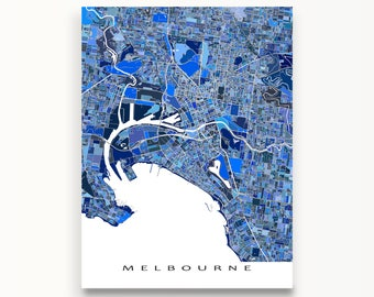 Melbourne Australia, Melbourne Map Poster, Blue City Map Art Print