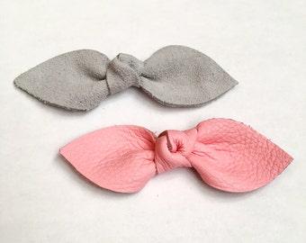 Classic Leather Knot Bow // Toddler/Baby nylon elastic headband // Baby Bow