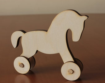 Horse on wheels - toy horse - Lasercut blank - lasercut blank for decoupage, painting - present