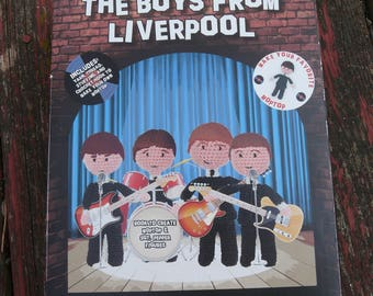 "The Beatles ~ The Boys From Liverpool ~ Crochet Your Favorite Band ~ Book & Supplies to Make 1 ""Moptop"" ~ Amigurami ~ John Paul George Ringo"