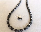Black Agate Necklace Beaded Agate Necklace Set Black Stone Necklace Earrings Black Stone Beaded Necklace Black Necklace Fashion Gift For Her