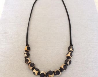 Contemporary Bead Necklace Resin Bead Statement Necklace Black Leather Beaded Necklace Deerskin Leather Beaded Boho Necklace Trendy Casual