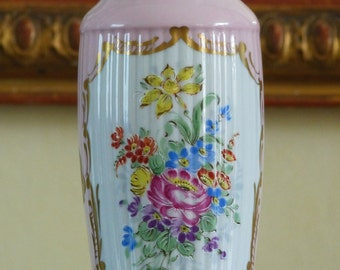 French porcelain vase. Hand painted vase with golden highlights. Floral decor.