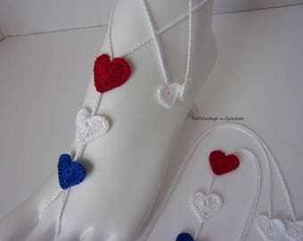 4th of July, Barefoot Sandal-4th of July, Beach Sandal-Patriotic Sandal,Memorial Day,Red White and Blue,