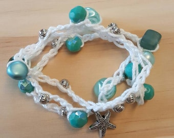 Crochet, Beaded, Wrap bracelet.