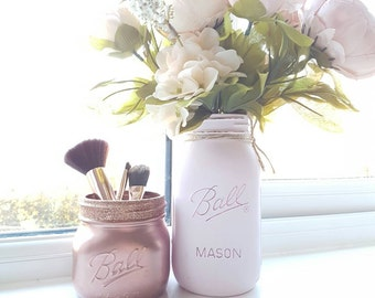 Painted Mason jars set of 2 - Rose Gold with gold glitter rim and Pale Pink - Perfect for Weddings/ Home