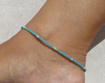 Anklet, Ankle bracelet, Blue Beach anklet, Minimalist blue Ankle bracelet, Beach Anklet, Dainty anklet,