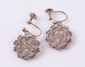 Antique Victorian Aesthetic Movement Sterling Silver Drop Earrings
