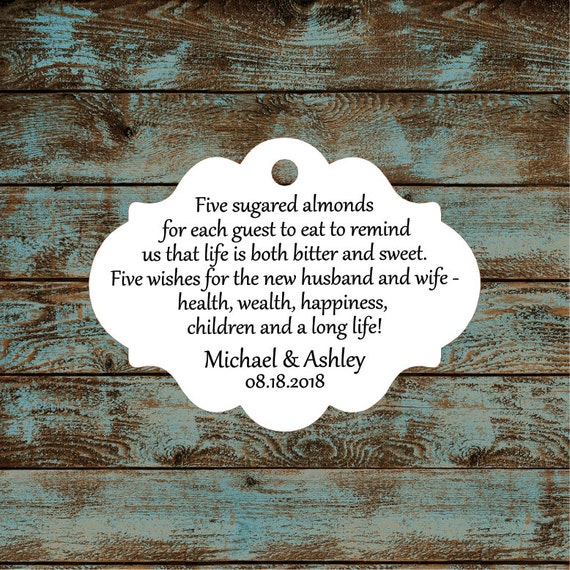 Favor Tags, Jordan Almond Favor Tags, Sugared Almond Favor Tags, Italian Wedding Favor Tags #684 - Qty: 30 Tags