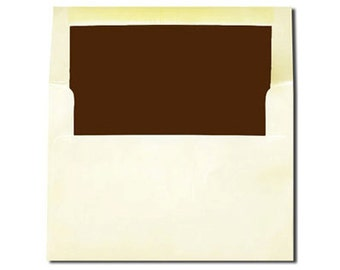 20 Cream with Chocolate Brown Lined Envelopes A7 and A2 Sizes