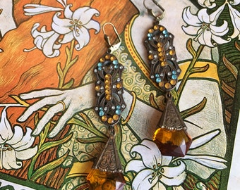 Spectacular Art Deco Gablonz Czech Statement Earrings with Cuted Topaz Glass Drops and Rhinestones
