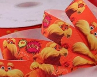 Dr. Seuss The Lorax Inspired Grosgrain Ribbon- Sold by the Yard
