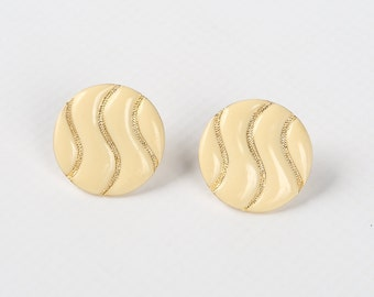 "1960's LES BERNARD INC. Mod Ivory Enamel, Gold Tone Textured Squiggles Button Hinged Clip on Earrings, Excellent Cond., 1-1/16"" Diameter"