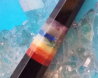 Double Terminated Solid BLACK TOURMALINE Crystal WAND With 7 Chakra Layers, Amethyst, Lapis Lazuli, Carnelian, Aventurine