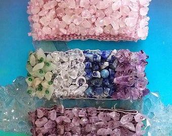 3 Large Handmade Crystal Wide Stretchy BRACELET Sets, Amethyst, Rose Quartz, and CHAKRA with Lapis Lazuli, Citrine, Carnelian, Red Jasper
