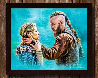 "Lagertha & Ragnar ""Stay with Me"" Digital Painting Print, Vikings"