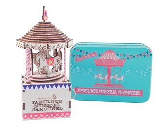 children's craft kit - make your own musical carousel - girls craft gift