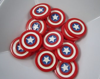 NEW Captain America shield flat back resin cabachon scrapbook hair bow center