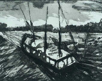 Aquatint etching of a boat in Weymouth harbour