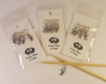 Knitting stitch markers, set of 4, BEARS, handmade