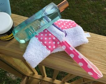 Towel Zipper Pouch, Beach Bag, Summer Cosmetic Case, Travel Toiletries Pouch, Swim Team Bag, Poolside Zipper Bag