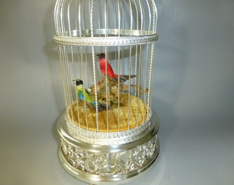 Rare Vintage Reuge Double Singing Bird Cage High End Silver Plated Cage Model ( Watch The Video )