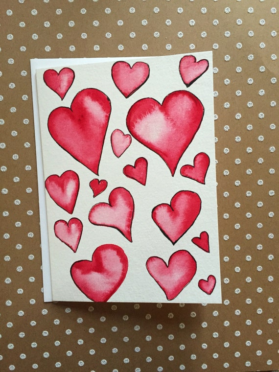 Watercolor Red Heart Card, Love Card, Heart Note Card, Heart Greeting Card