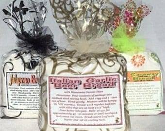 The Bread Basket- Bread Mixes-Beer Bread-Onion Caraway Beer Bread-Jalapeno Bread - Gift Basket Goodies-Christmas Gift-Stocking Stuffer