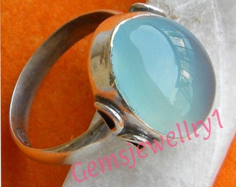 Chalcedony ring, Sterling Silver Ring,Silver Ring,Chalcedony Stone, Chalcedony Stone Ring,US Size 5 6 7 8 9 10 11 12 13 14 -0115100163