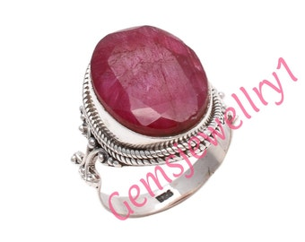 Ruby Ring - Red Ruby Gemstone Ring, July Birthstone Ring,Sterling Silver Ring,Ruby Jewelry,Ethnic Boho US Size 5 6 7 8 9 10 11 12 13 14   14