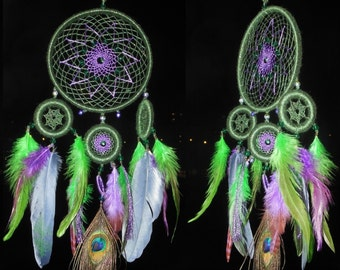 "Dreamcatcher ""Happy New Year""  \ Large Dream catcher \ attrape reves \ Traumfanger \ Acchiappasogni \ blue mobile  \ Wall Hangings  \ Decor"