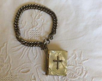 Vintage Mother of Pearl Locket Bracelet