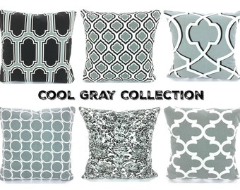 Cool Gray Pillow Covers, Decorative Throw Pillows, Cushion Covers, Grey White, Pillows for Couch Bed, One or More Mix & Match All Sizes