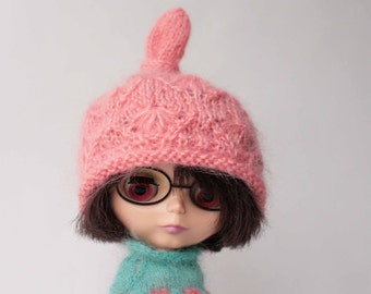 Coral Blythe hat, Boho style Blythe hat , Pink mohair cap for blythe doll, Pink doll helmet,Doll mohair knit hat, Hand knitted Blythe cloth