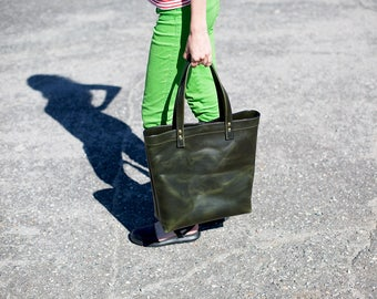 Tote bag, Green Leather Tote Bag, Horween Chromexcel Leather Tote Bag, Shopper bag, School Bag