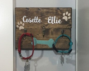Personalized dog leash holder, Dog leash holder, Wooden dog leash holder, Wooden key holder, Dog leash organization, Dog leash hanger