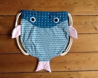 kids gym bag backpack fish
