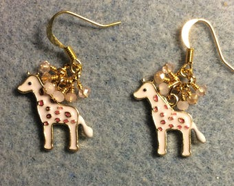 Light pink spotted enamel giraffe charm earrings adorned with tiny dangling pink and peach Chinese crystal beads.
