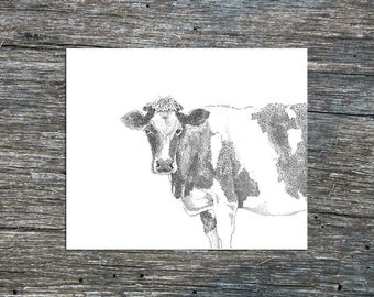 Cow Print, Cow illustration, Farm animal, Farm art, Black Cow, Cottage art