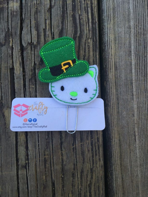 St. Patrick Kitty Clip/Planner Clip/Bookmark. St. Patrick's planner clips. St. Patty's