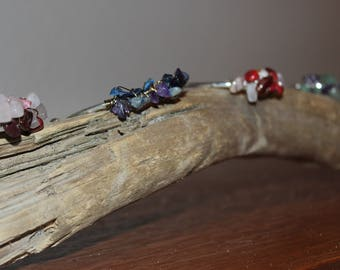 Silver cuff with wire wrapped stones