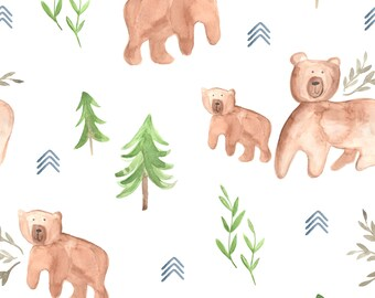 Crib Sheet or Changing Pad Cover | Boy Baby Bedding | Bear Crib Sheet | Woodland Crib Bedding | Camping Theme Nursery | Standard or Mini